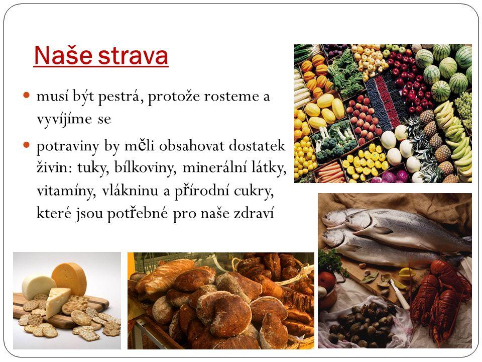 Naše strava musí být pestrá, protože rosteme a vyvíjíme se potraviny by m ě li obsahovat dostatek živin: tuky, bílkoviny, minerální látky, vitamíny, vlákninu a p ř írodní cukry, které jsou pot ř ebné pro naše zdraví