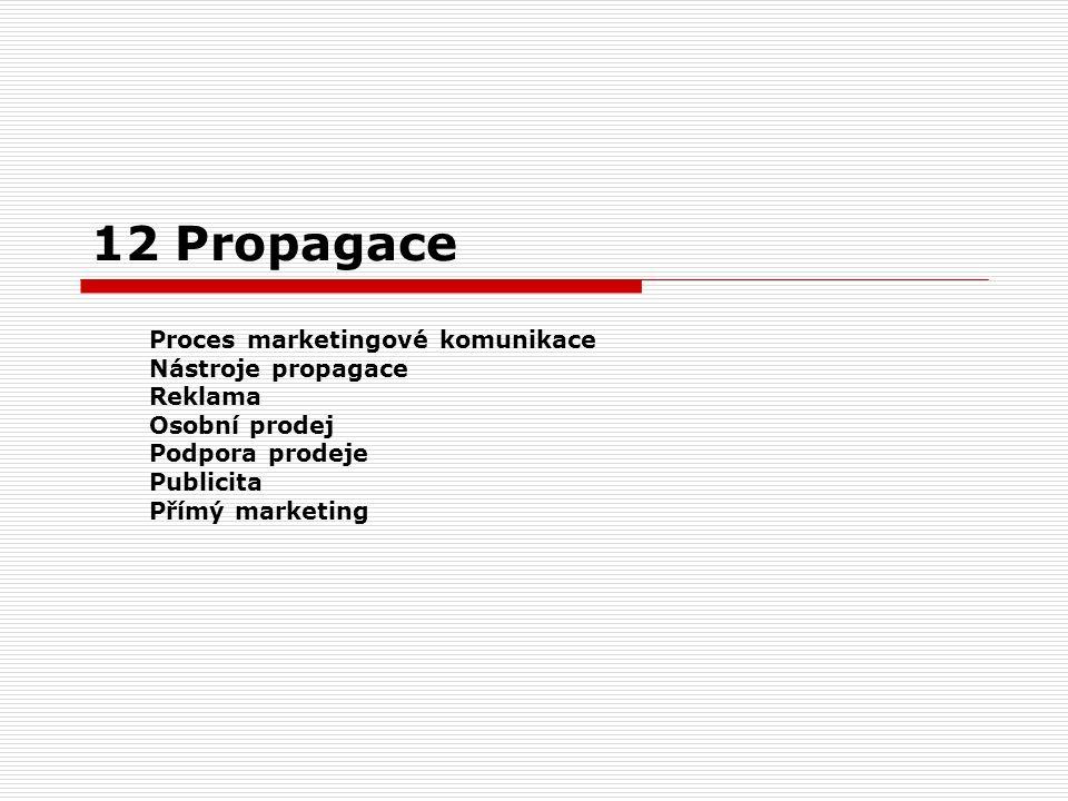 12 Propagace Proces marketingové komunikace Nástroje propagace Reklama Osobní prodej Podpora prodeje Publicita Přímý marketing