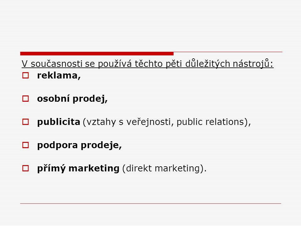V současnosti se používá těchto pěti důležitých nástrojů:  reklama,  osobní prodej,  publicita (vztahy s veřejnosti, public relations),  podpora prodeje,  přímý marketing (direkt marketing).