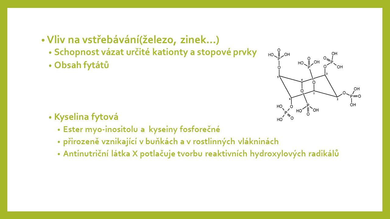 Vliv na vstřebávání(železo, zinek…) Schopnost vázat určité kationty a stopové prvky Obsah fytátů Kyselina fytová Ester myo-inositolu a kyseiny fosforečné přirozeně vznikající v buňkách a v rostlinných vlákninách Antinutriční látka X potlačuje tvorbu reaktivních hydroxylových radikálů