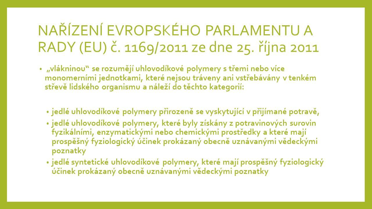 NAŘÍZENÍ EVROPSKÉHO PARLAMENTU A RADY (EU) č. 1169/2011 ze dne 25.