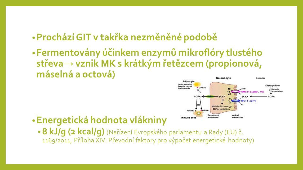 Prochází GIT v takřka nezměněné podobě Fermentovány účinkem enzymů mikroflóry tlustého střeva → vznik MK s krátkým řetězcem (propionová, máselná a octová) Energetická hodnota vlákniny 8 kJ/g (2 kcal/g) (Nařízení Evropského parlamentu a Rady (EU) č.