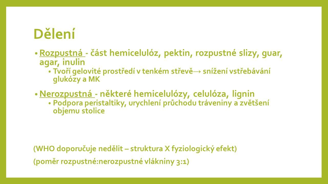 Dělení Rozpustná - část hemicelulóz, pektin, rozpustné slizy, guar, agar, inulin Tvoří gelovité prostředí v tenkém střevě → snížení vstřebávání glukózy a MK Nerozpustná - některé hemicelulózy, celulóza, lignin Podpora peristaltiky, urychlení průchodu tráveniny a zvětšení objemu stolice (WHO doporučuje nedělit – struktura X fyziologický efekt) (poměr rozpustné:nerozpustné vlákniny 3:1)