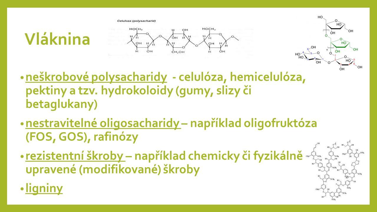 Vláknina neškrobové polysacharidy - celulóza, hemicelulóza, pektiny a tzv.