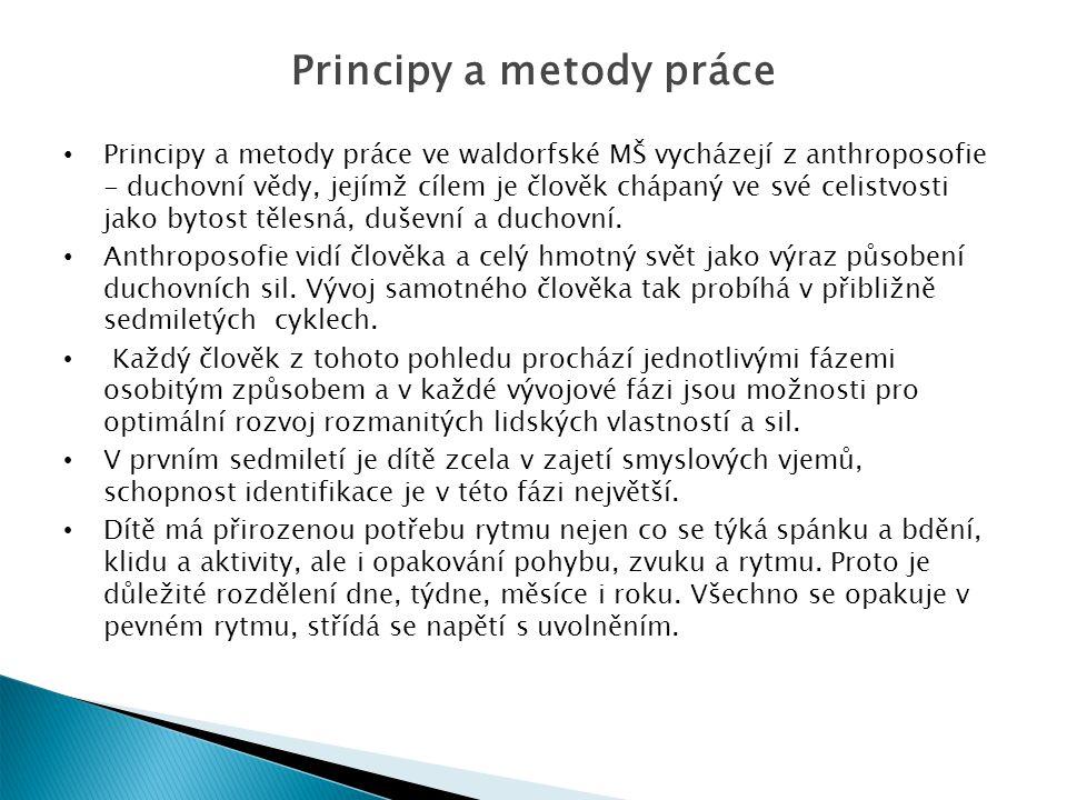 Principy a metody práce Principy a metody práce ve waldorfské MŠ vycházejí z anthroposofie - duchovní vědy, jejímž cílem je člověk chápaný ve své celistvosti jako bytost tělesná, duševní a duchovní.