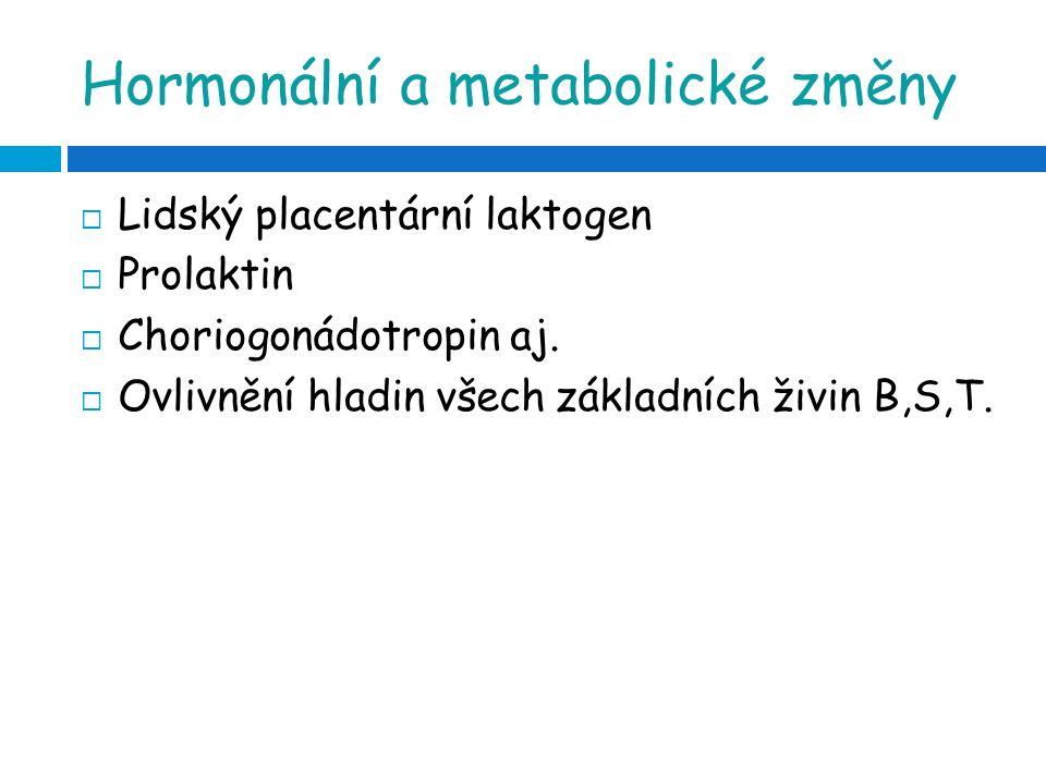 Změny v těhotenství  V prvním trimestru-se zvyšuje hladina insulinu (anabolická fáze) → tvorba tukových zásob  Nárůst lipidů v plazmě (CH, TAG, fosfolipidy, volné MK, lipoproteiny)- tvoří se nové buňky, VMK a TAG-zdroje energie, Lipoproteiny-transportují tuk v krvi  Zvyšuje se bazální metabolismus  Těhotenství je potenciálně diabetogenní, druhý a třetí trimestr –rozvoj insulinové rezistence →→ gestační diabetes mellitus  Změny GIT –Progesteron-ochabování hladkého svalstva GIT, ovlivňuje:  Porucha vyprazdňování střeva  Rozvoj zácpy  Pyróza  Nevolnost, zvracení (hCG?)