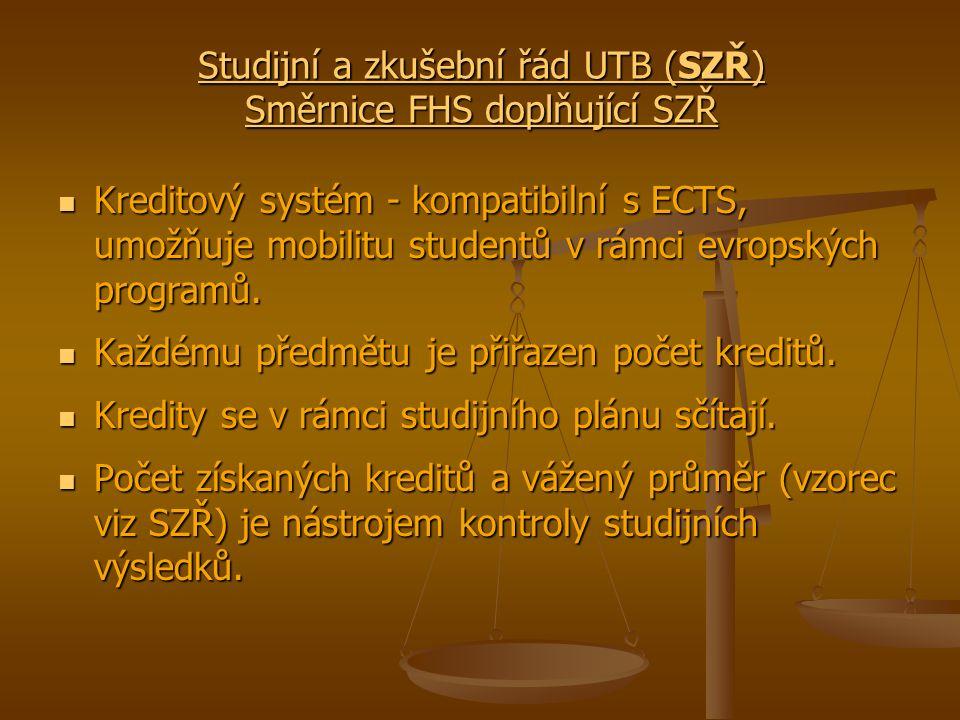 Studijní a zkušební řád UTB (SZŘ) Směrnice FHS doplňující SZŘ Studijní a zkušební řád UTB (SZŘ) Směrnice FHS doplňující SZŘ Kreditový systém - kompatibilní s ECTS, umožňuje mobilitu studentů v rámci evropských programů.