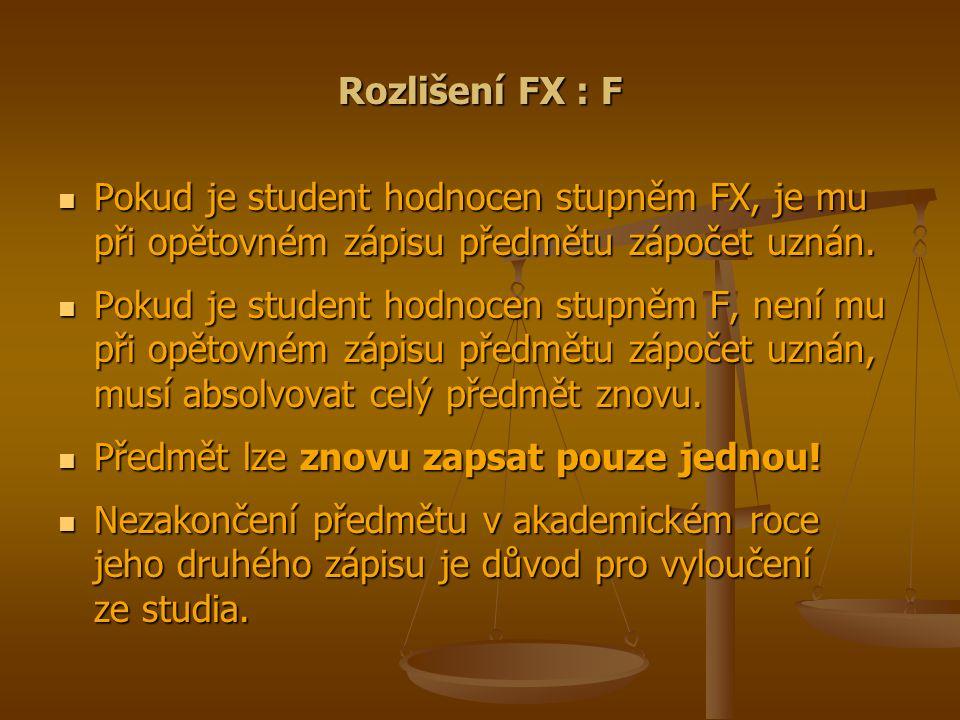 Rozlišení FX : F Pokud je student hodnocen stupněm FX, je mu při opětovném zápisu předmětu zápočet uznán.