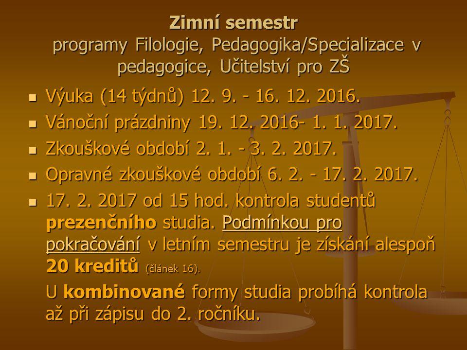 Zimní semestr programy Filologie, Pedagogika/Specializace v pedagogice, Učitelství pro ZŠ Výuka (14 týdnů) 12.