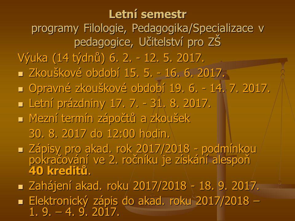 Letní semestr programy Filologie, Pedagogika/Specializace v pedagogice, Učitelství pro ZŠ Výuka (14 týdnů) 6.
