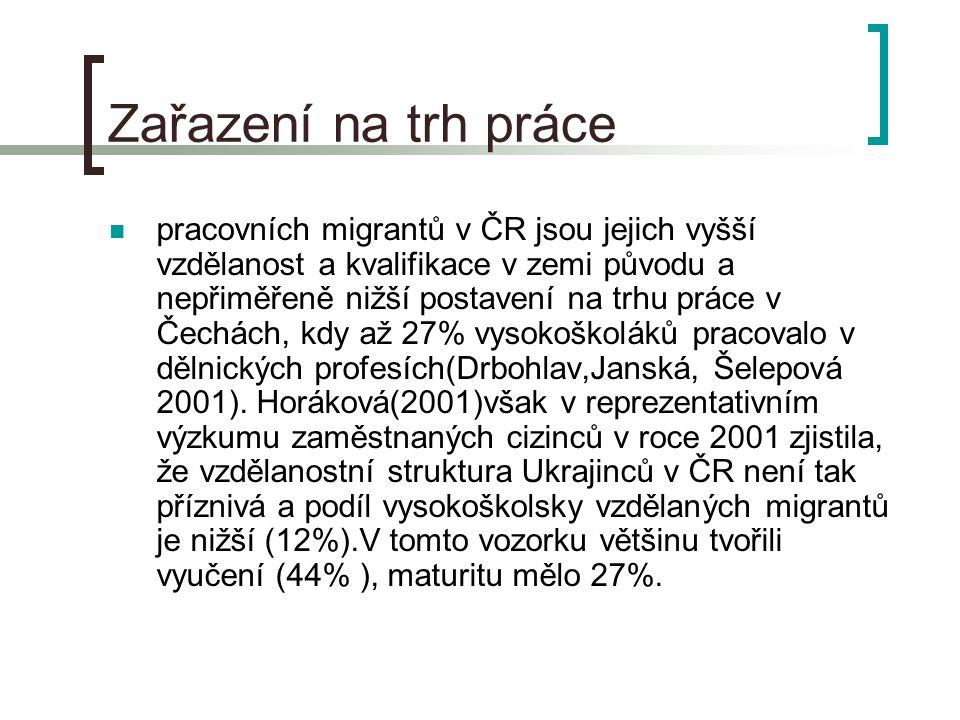Zařazení na trh práce pracovních migrantů v ČR jsou jejich vyšší vzdělanost a kvalifikace v zemi původu a nepřiměřeně nižší postavení na trhu práce v Čechách, kdy až 27% vysokoškoláků pracovalo v dělnických profesích(Drbohlav,Janská, Šelepová 2001).