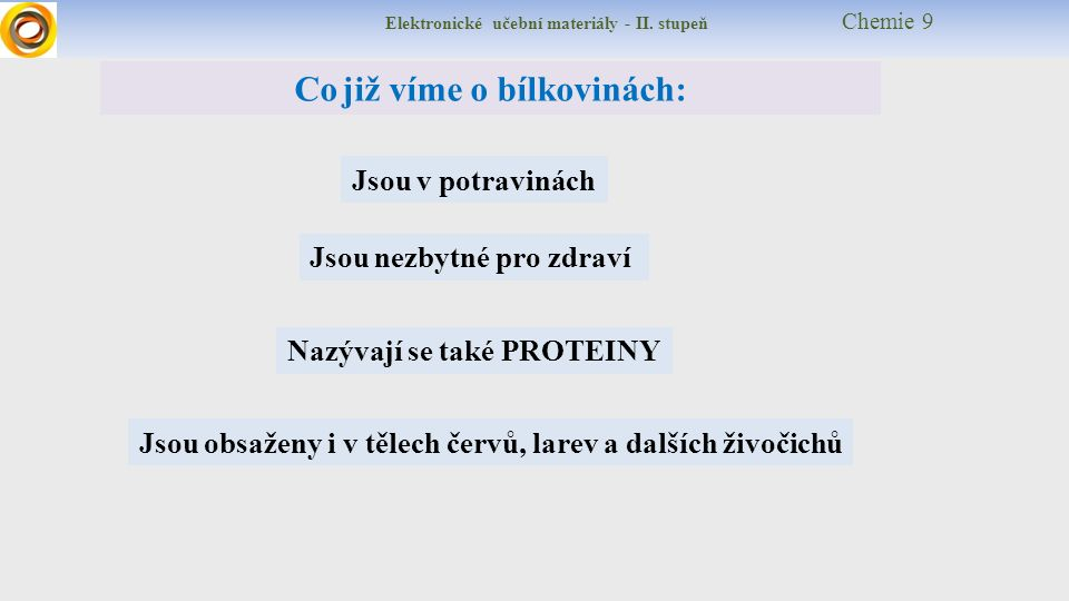 Elektronické učební materiály - II. stupeň Chemie 9 Co již víme o bílkovinách: Jsou nezbytné pro zdraví Jsou v potravinách Nazývají se také PROTEINY J