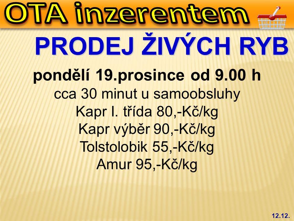 PRODEJ ŽIVÝCH RYB pondělí 19.prosince od 9.00 h cca 30 minut u samoobsluhy Kapr I. třída 80,-Kč/kg Kapr výběr 90,-Kč/kg Tolstolobik 55,-Kč/kg Amur 95,