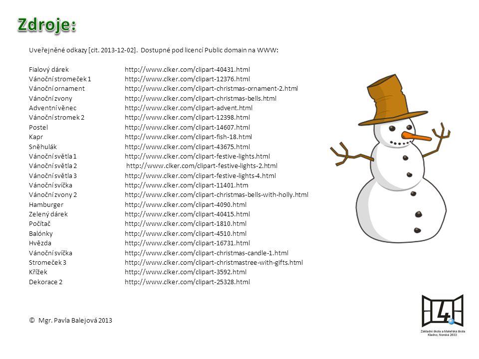 Uveřejněné odkazy [cit. 2013-12-02].