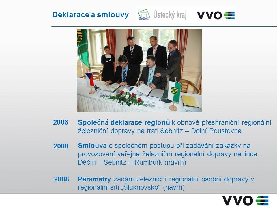 Společná deklarace regionů k obnově přeshraniční regionální železniční dopravy na trati Sebnitz – Dolní Poustevna Smlouva o společném postupu při zadá