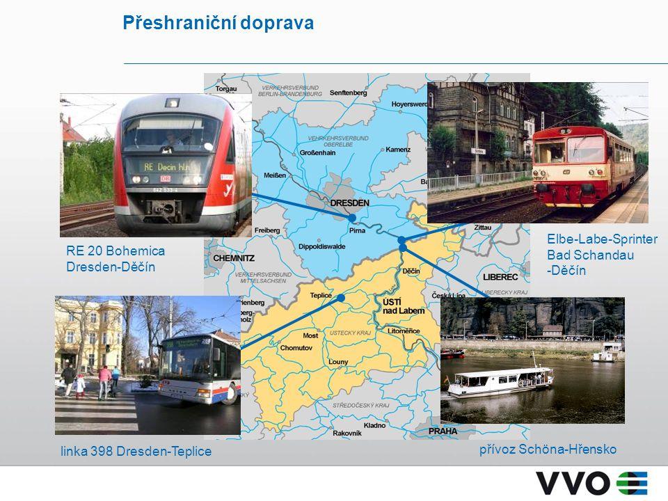 linka 398 Dresden-Teplice přívoz Schöna-Hřensko RE 20 Bohemica Dresden-Děčín Elbe-Labe-Sprinter Bad Schandau -Děčín Přeshraniční doprava