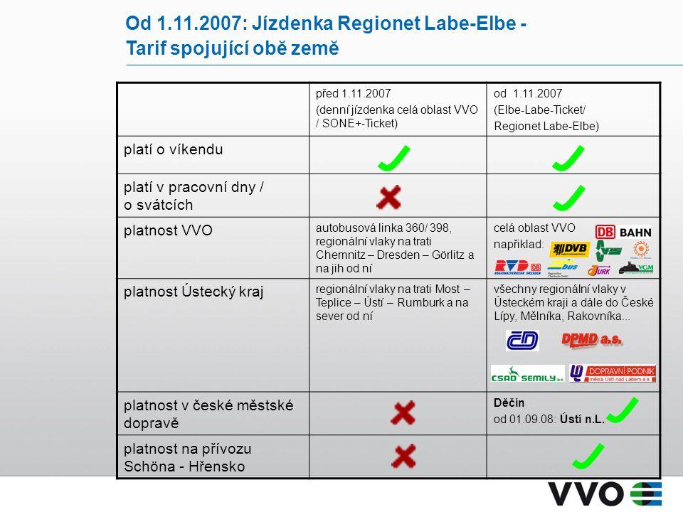 Od 1.11.2007: Jízdenka Regionet Labe-Elbe - Tarif spojující obĕ zemĕ před 1.11.2007 (denní jízdenka celá oblast VVO / SONE+-Ticket) od 1.11.2007 (Elbe-Labe-Ticket/ Regionet Labe-Elbe) platí o víkendu platí v pracovní dny / o svátcích platnost VVO autobusová linka 360/ 398, regionální vlaky na trati Chemnitz – Dresden – Görlitz a na jih od ní celá oblast VVO napřiklad: platnost Ústecký kraj regionální vlaky na trati Most – Teplice – Ústí – Rumburk a na sever od ní všechny regionální vlaky v Ústeckém kraji a dále do České Lípy, Mělníka, Rakovníka...