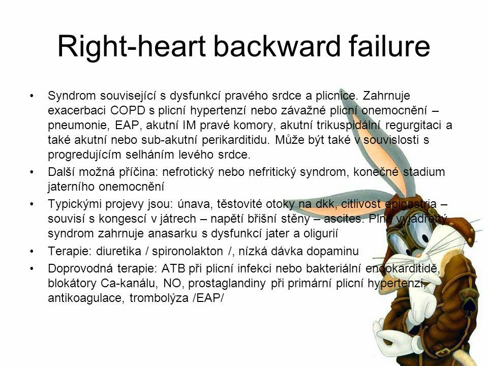 Right-heart backward failure Syndrom související s dysfunkcí pravého srdce a plicnice.