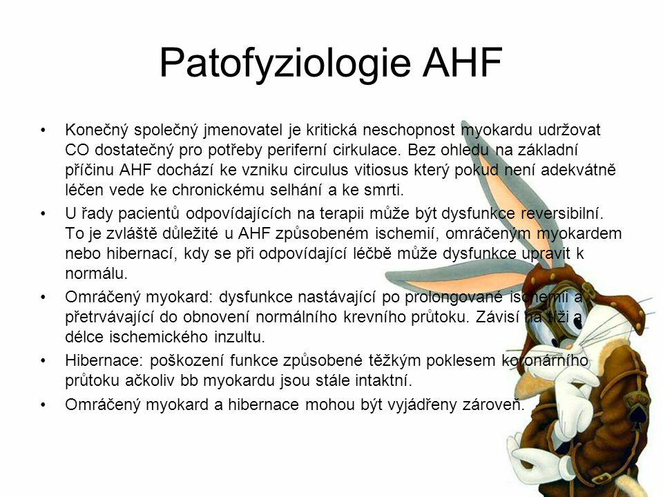 Patofyziologie AHF Konečný společný jmenovatel je kritická neschopnost myokardu udržovat CO dostatečný pro potřeby periferní cirkulace.