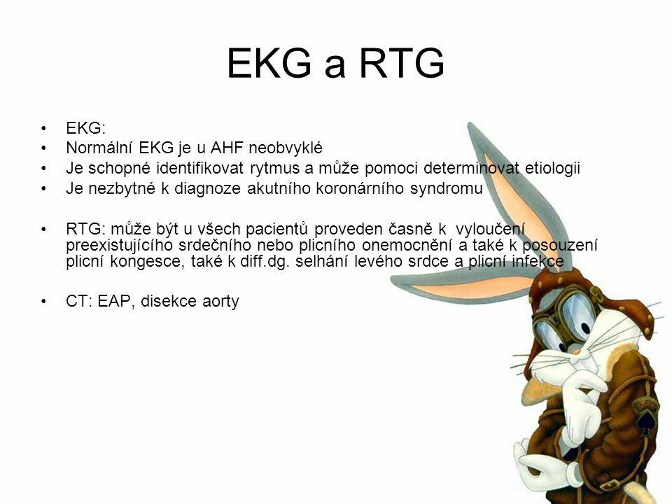EKG a RTG EKG: Normální EKG je u AHF neobvyklé Je schopné identifikovat rytmus a může pomoci determinovat etiologii Je nezbytné k diagnoze akutního koronárního syndromu RTG: může být u všech pacientů proveden časně k vyloučení preexistujícího srdečního nebo plicního onemocnění a také k posouzení plicní kongesce, také k diff.dg.