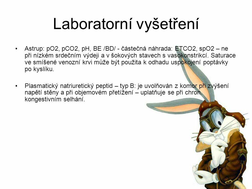 Laboratorní vyšetření Astrup: pO2, pCO2, pH, BE /BD/ - částečná náhrada: ETCO2, spO2 – ne při nízkém srdečním výdeji a v šokových stavech s vasokonstrikcí.
