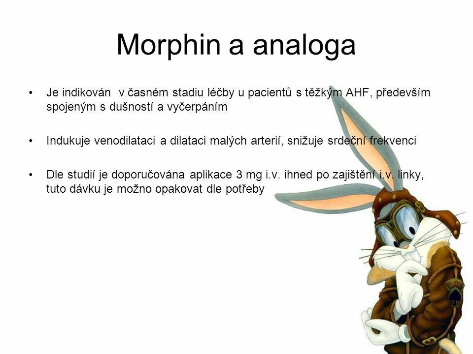 Morphin a analoga Je indikován v časném stadiu léčby u pacientů s těžkým AHF, především spojeným s dušností a vyčerpáním Indukuje venodilataci a dilataci malých arterií, snižuje srdeční frekvenci Dle studií je doporučována aplikace 3 mg i.v.