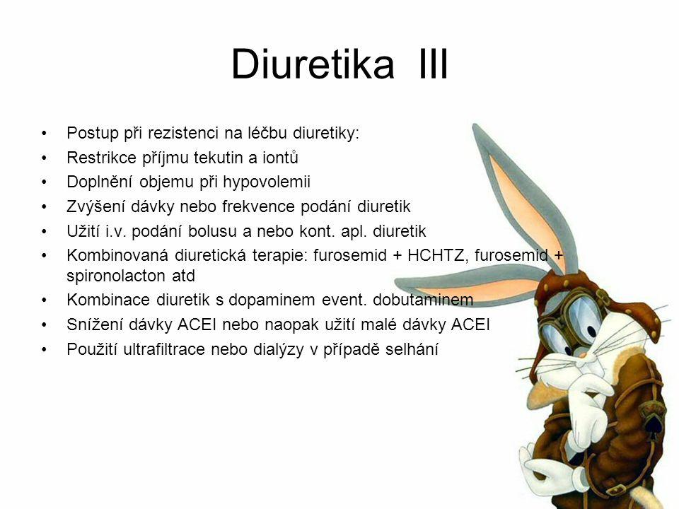 Diuretika III Postup při rezistenci na léčbu diuretiky: Restrikce příjmu tekutin a iontů Doplnění objemu při hypovolemii Zvýšení dávky nebo frekvence podání diuretik Užití i.v.