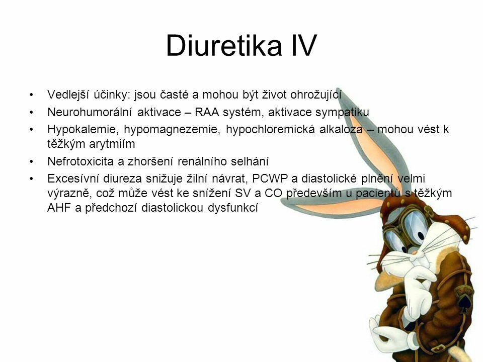 Diuretika IV Vedlejší účinky: jsou časté a mohou být život ohrožující Neurohumorální aktivace – RAA systém, aktivace sympatiku Hypokalemie, hypomagnezemie, hypochloremická alkaloza – mohou vést k těžkým arytmiím Nefrotoxicita a zhoršení renálního selhání Excesívní diureza snižuje žilní návrat, PCWP a diastolické plnění velmi výrazně, což může vést ke snížení SV a CO především u pacientů s těžkým AHF a předchozí diastolickou dysfunkcí
