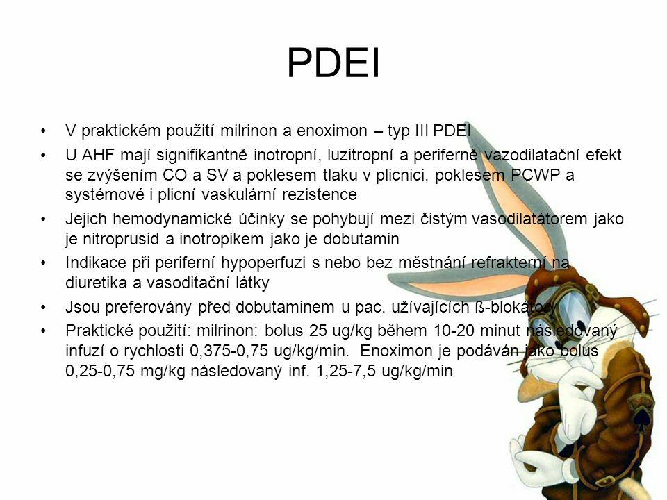 PDEI V praktickém použití milrinon a enoximon – typ III PDEI U AHF mají signifikantně inotropní, luzitropní a periferně vazodilatační efekt se zvýšením CO a SV a poklesem tlaku v plicnici, poklesem PCWP a systémové i plicní vaskulární rezistence Jejich hemodynamické účinky se pohybují mezi čistým vasodilatátorem jako je nitroprusid a inotropikem jako je dobutamin Indikace při periferní hypoperfuzi s nebo bez městnání refrakterní na diuretika a vasoditační látky Jsou preferovány před dobutaminem u pac.