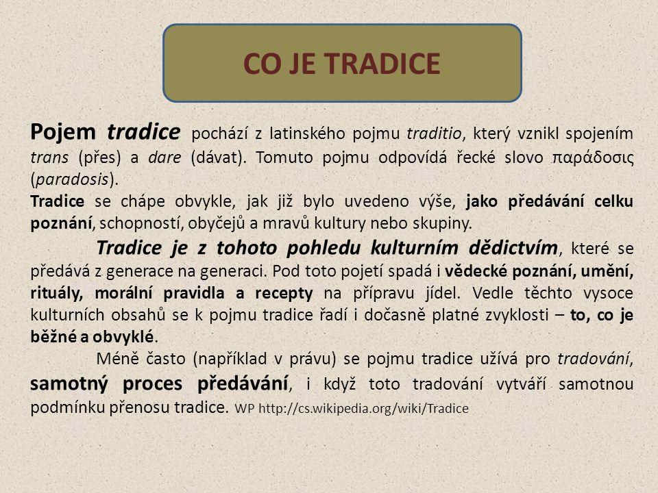 Pojem tradice pochází z latinského pojmu traditio, který vznikl spojením trans (přes) a dare (dávat).