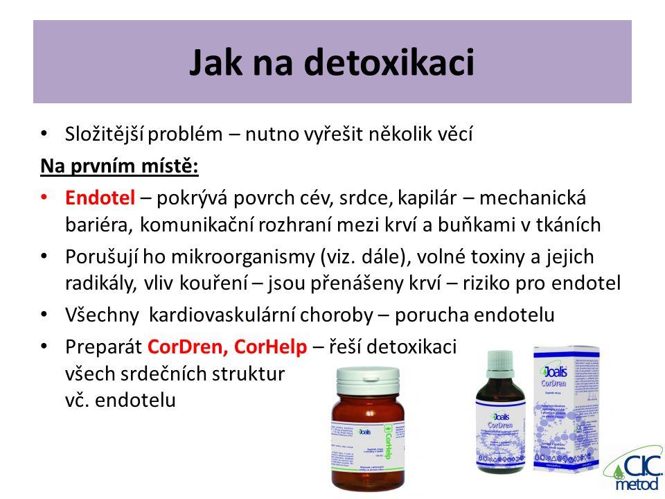 Jak na detoxikaci Složitější problém – nutno vyřešit několik věcí Na prvním místě: Endotel – pokrývá povrch cév, srdce, kapilár – mechanická bariéra,