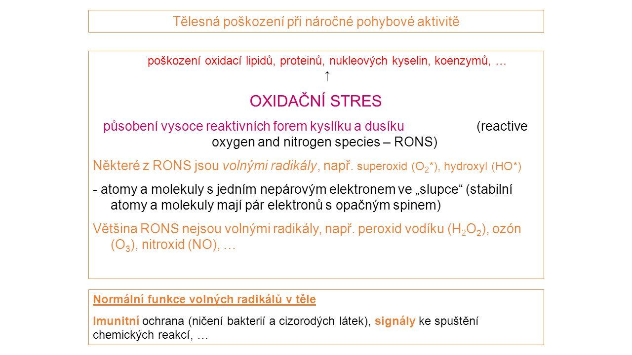 Tělesná poškození při náročné pohybové aktivitě poškození oxidací lipidů, proteinů, nukleových kyselin, koenzymů, … ↑ OXIDAČNÍ STRES působení vysoce reaktivních forem kyslíku a dusíku (reactive oxygen and nitrogen species – RONS) Některé z RONS jsou volnými radikály, např.