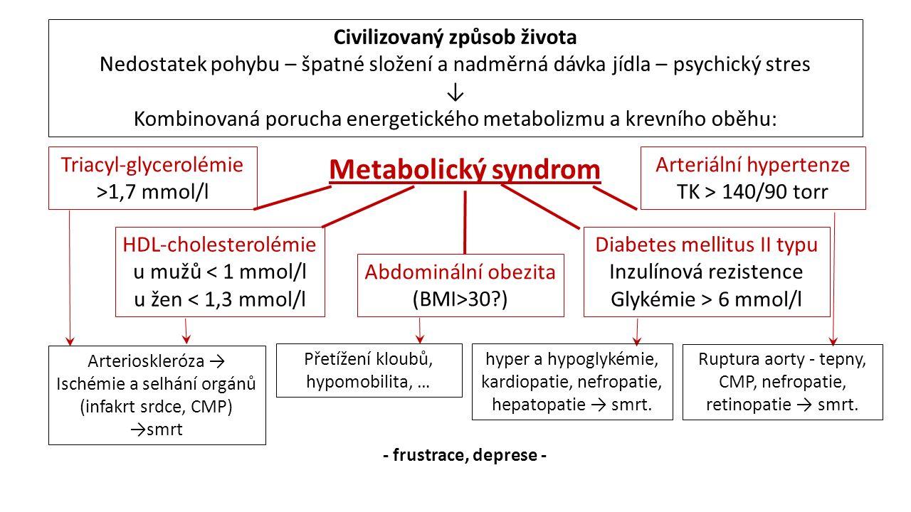 Metabolický syndrom Abdominální obezita (BMI>30 ) Triacyl-glycerolémie >1,7 mmol/l HDL-cholesterolémie u mužů < 1 mmol/l u žen < 1,3 mmol/l Diabetes mellitus II typu Inzulínová rezistence Glykémie > 6 mmol/l Arteriální hypertenze TK > 140/90 torr Civilizovaný způsob života Nedostatek pohybu – špatné složení a nadměrná dávka jídla – psychický stres ↓ Kombinovaná porucha energetického metabolizmu a krevního oběhu: Arterioskleróza → Ischémie a selhání orgánů (infakrt srdce, CMP) →smrt hyper a hypoglykémie, kardiopatie, nefropatie, hepatopatie → smrt.