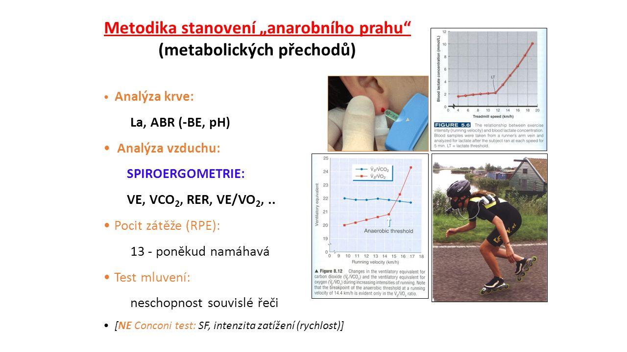 """Metodika stanovení """"anarobního prahu (metabolických přechodů) Analýza krve: La, ABR (-BE, pH) Analýza vzduchu: SPIROERGOMETRIE: VE, VCO 2, RER, VE/VO 2,.."""