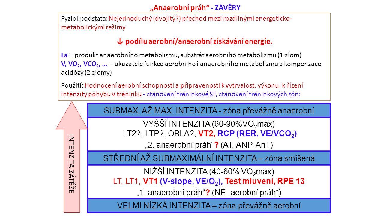 """""""Anaerobní práh - ZÁVĚRY Fyziol.podstata: Nejednoduchý (dvojitý ) přechod mezi rozdílnými energeticko- metabolickými režimy ↓ podílu aerobní/anaerobní získávání energie."""
