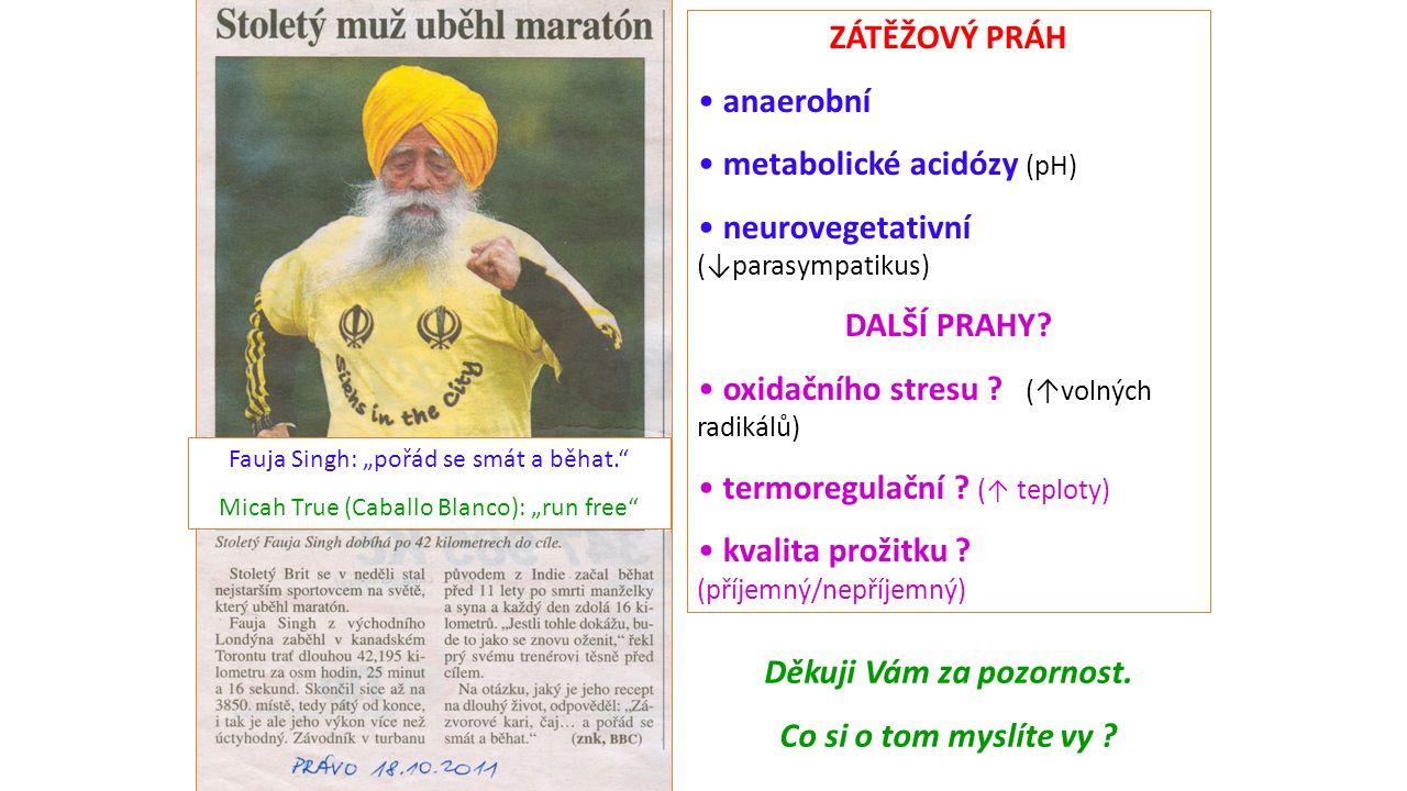 ZÁTĚŽOVÝ PRÁH anaerobní metabolické acidózy (pH) neurovegetativní (↓parasympatikus) DALŠÍ PRAHY.