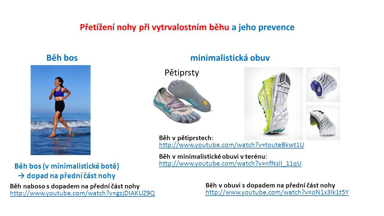 Přetížení nohy při vytrvalostním běhu a jeho prevence Běh bosminimalistická obuv Běh v minimalistické obuvi v terénu: http://www.youtube.com/watch v=nfNsll_11qU Běh v pětiprstech: http://www.youtube.com/watch v=touteBkwt1U Pětiprsty Běh bos (v minimalistické botě) → dopad na přední část nohy Běh v obuvi s dopadem na přední část nohy http://www.youtube.com/watch v=oN1x3Ik1t5Y Běh naboso s dopadem na přední část nohy http://www.youtube.com/watch v=gzjDIAKUZ9Q
