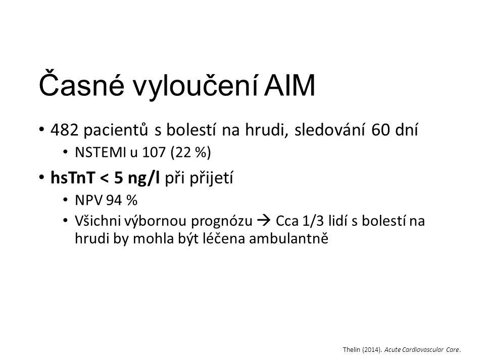 Časné vyloučení AIM 482 pacientů s bolestí na hrudi, sledování 60 dní NSTEMI u 107 (22 %) hsTnT < 5 ng/l při přijetí NPV 94 % Všichni výbornou prognózu  Cca 1/3 lidí s bolestí na hrudi by mohla být léčena ambulantně Thelin (2014).