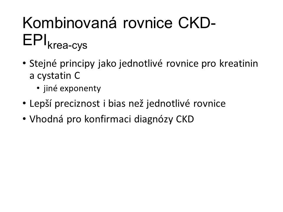 Kombinovaná rovnice CKD- EPI krea-cys Stejné principy jako jednotlivé rovnice pro kreatinin a cystatin C jiné exponenty Lepší preciznost i bias než jednotlivé rovnice Vhodná pro konfirmaci diagnózy CKD