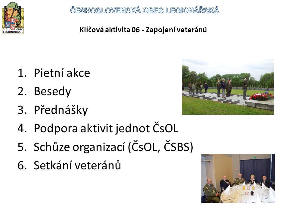 Klíčová aktivita 06 - Zapojení veteránů 1.Pietní akce 2.Besedy 3.Přednášky 4.Podpora aktivit jednot ČsOL 5.Schůze organizací (ČsOL, ČSBS) 6.Setkání veteránů