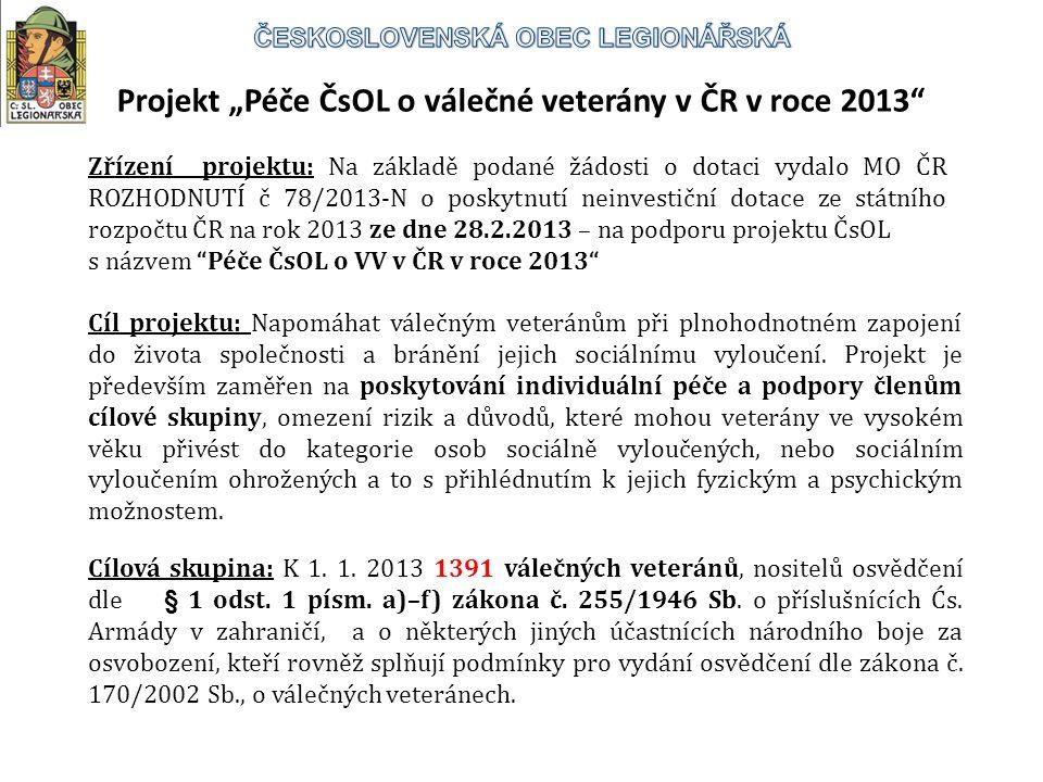 """Projekt """"Péče ČsOL o válečné veterány v ČR v roce 2013 Cíl projektu: Napomáhat válečným veteránům při plnohodnotném zapojení do života společnosti a bránění jejich sociálnímu vyloučení."""