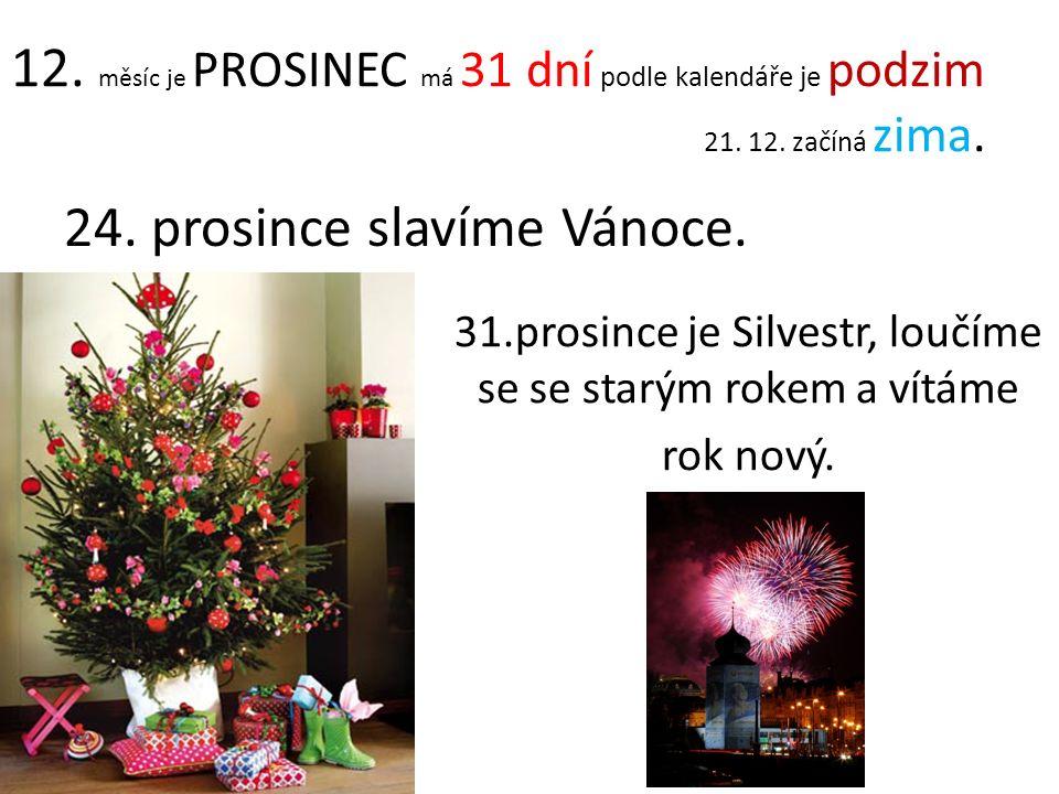 12. měsíc je PROSINEC má 31 dní podle kalendáře je podzim 21. 12. začíná zima. 24. prosince slavíme Vánoce. 31.prosince je Silvestr, loučíme se se sta