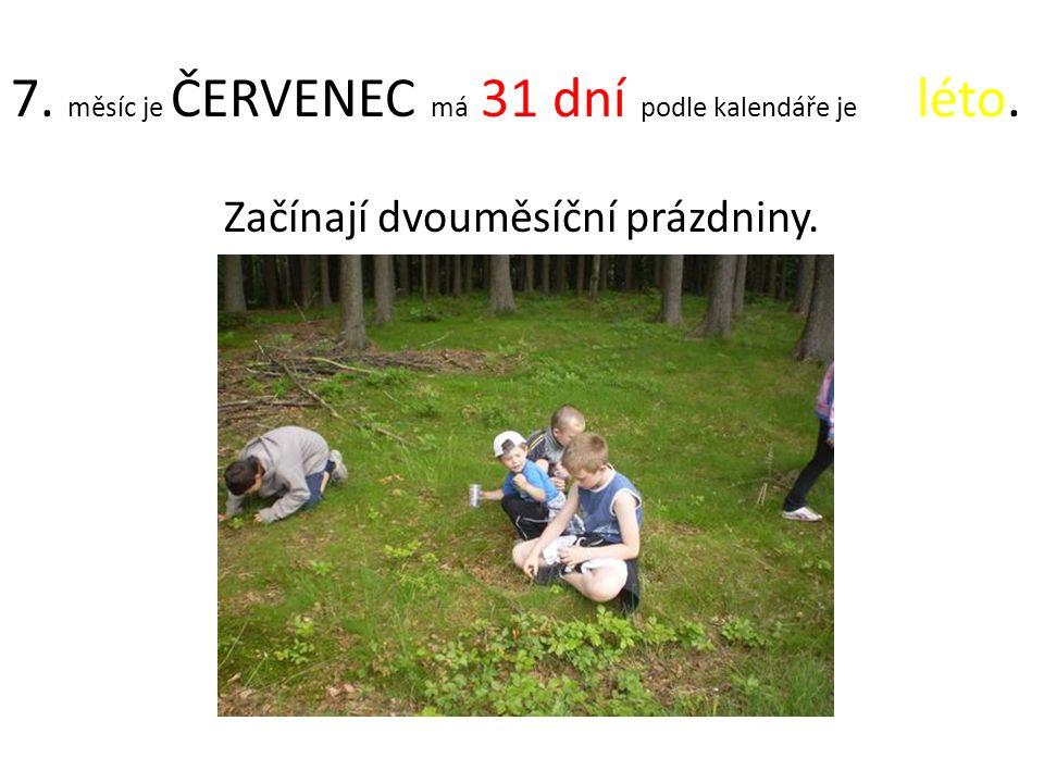 7. měsíc je ČERVENEC má 31 dní podle kalendáře je léto. Začínají dvouměsíční prázdniny.