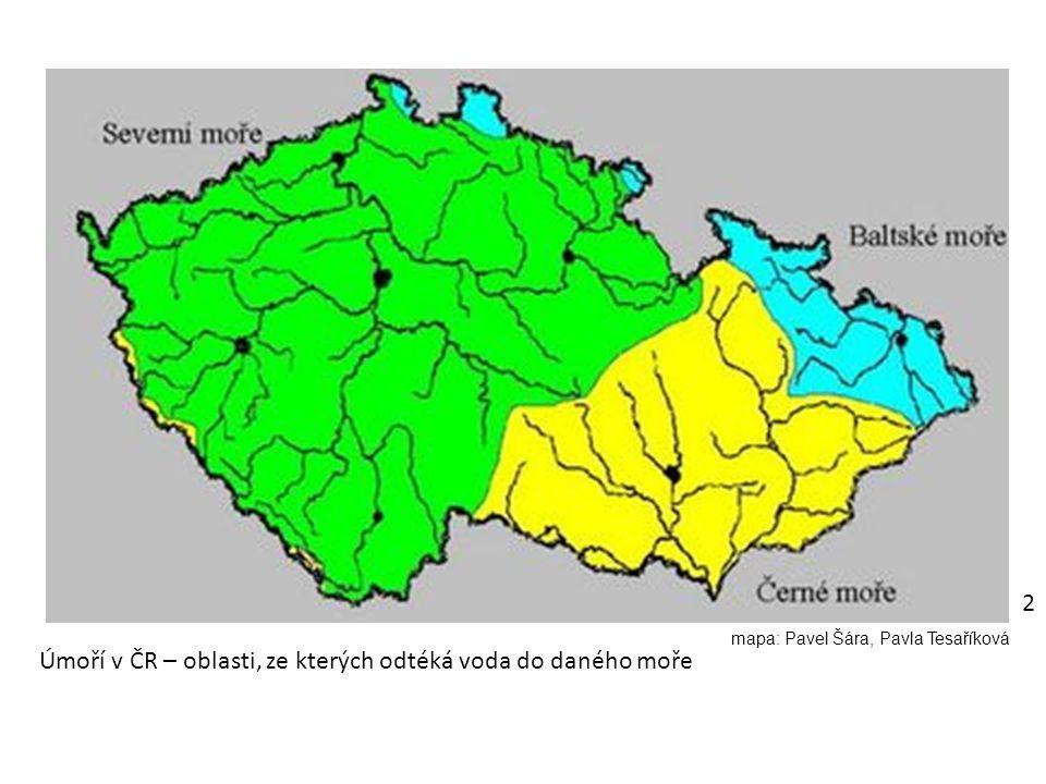 Úmoří v ČR – oblasti, ze kterých odtéká voda do daného moře 2 mapa: Pavel Šára, Pavla Tesaříková