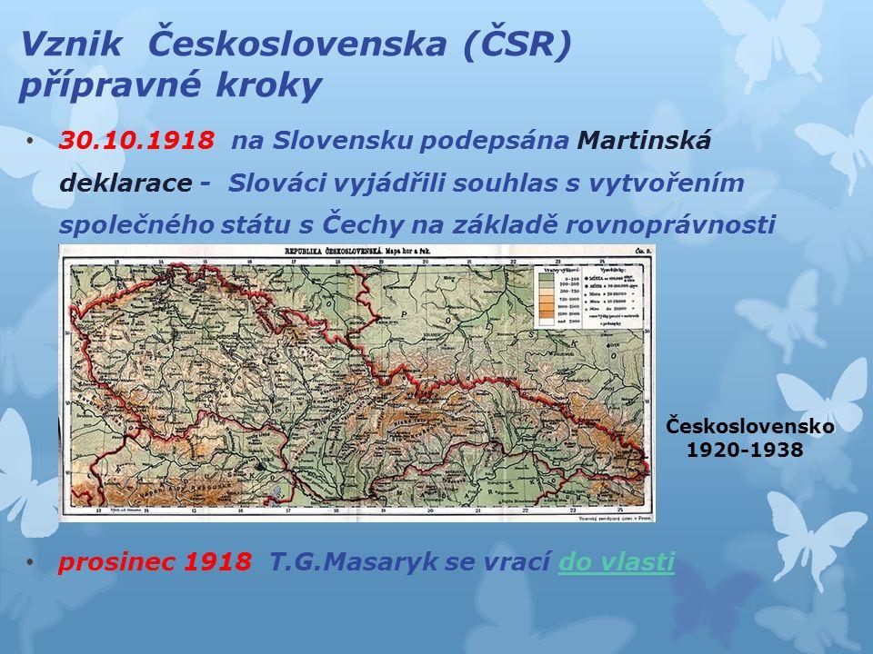 Vznik Československa (ČSR) přípravné kroky 30.10.1918 na Slovensku podepsána Martinská deklarace - Slováci vyjádřili souhlas s vytvořením společného s