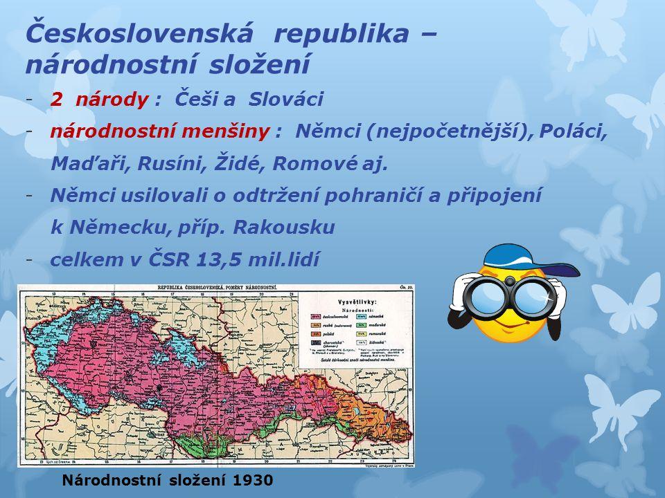 Československá republika – národnostní složení -2 národy : Češi a Slováci -národnostní menšiny : Němci (nejpočetnější), Poláci, Maďaři, Rusíni, Židé,
