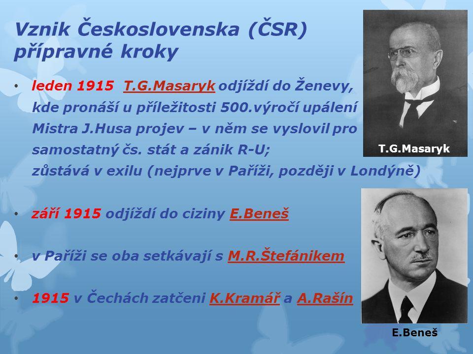 Vznik Československa (ČSR) přípravné kroky leden 1915 T.G.Masaryk odjíždí do Ženevy, kde pronáší u příležitosti 500.výročí upálení Mistra J.Husa projev – v něm se vyslovil pro samostatný čs.