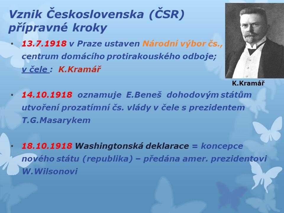 Vznik Československa (ČSR) přípravné kroky 13.7.1918 v Praze ustaven Národní výbor čs., centrum domácího protirakouského odboje; v čele : K.Kramář 14.