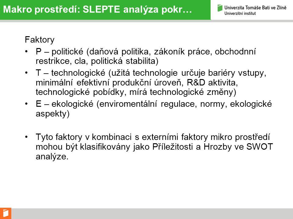 Makro prostředí: SLEPTE analýza pokr… Faktory P – politické (daňová politika, zákoník práce, obchodnní restrikce, cla, politická stabilita) T – technologické (užitá technologie určuje bariéry vstupy, minimální efektivní produkční úroveň, R&D aktivita, technologické pobídky, mírá technologické změny) E – ekologické (enviromentální regulace, normy, ekologické aspekty) Tyto faktory v kombinaci s externími faktory mikro prostředí mohou být klasifikovány jako Příležitosti a Hrozby ve SWOT analýze.
