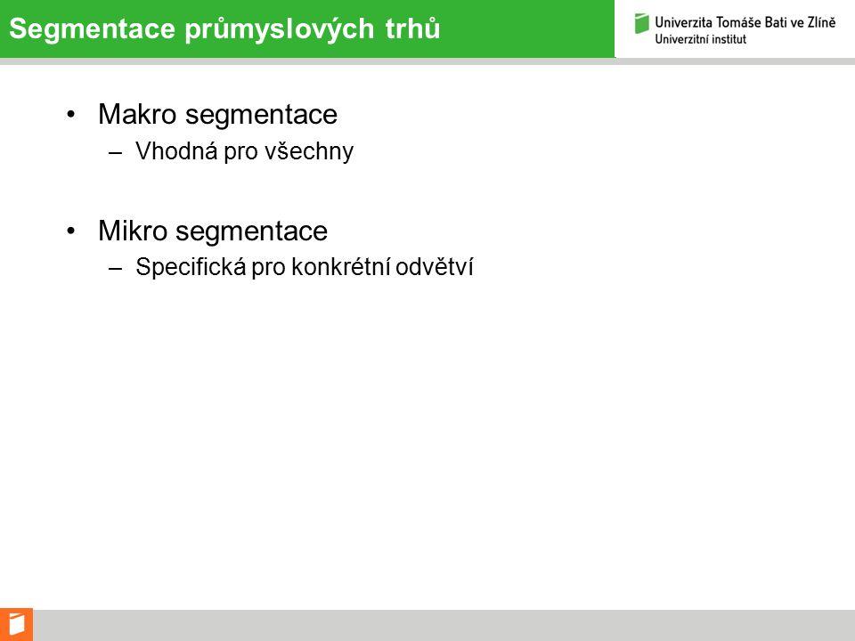 Segmentace průmyslových trhů Makro segmentace –Vhodná pro všechny Mikro segmentace –Specifická pro konkrétní odvětví
